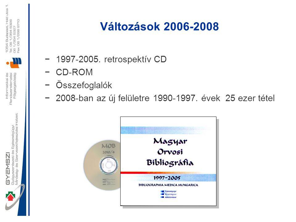 Változások 2006-2008 −1997-2005. retrospektív CD −CD-ROM −Összefoglalók −2008-ban az új felületre 1990-1997. évek 25 ezer tétel