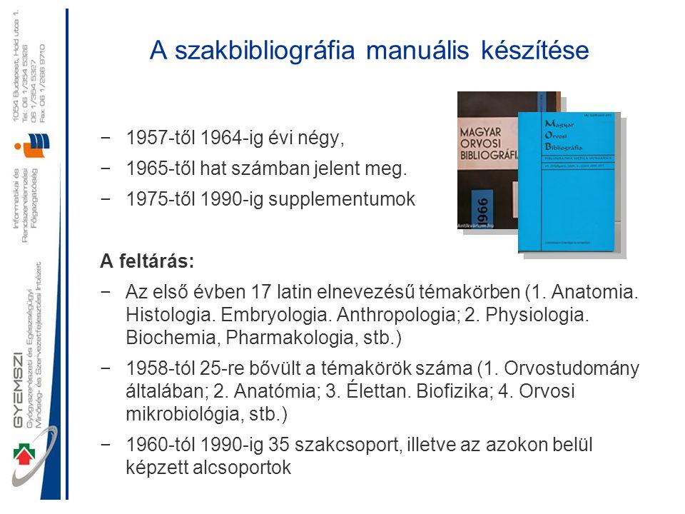 A szakbibliográfia manuális készítése −1957-től 1964-ig évi négy, −1965-től hat számban jelent meg. −1975-től 1990-ig supplementumok A feltárás: −Az e