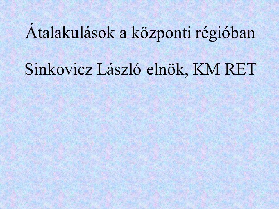 Átalakulások a központi régióban Sinkovicz László elnök, KM RET
