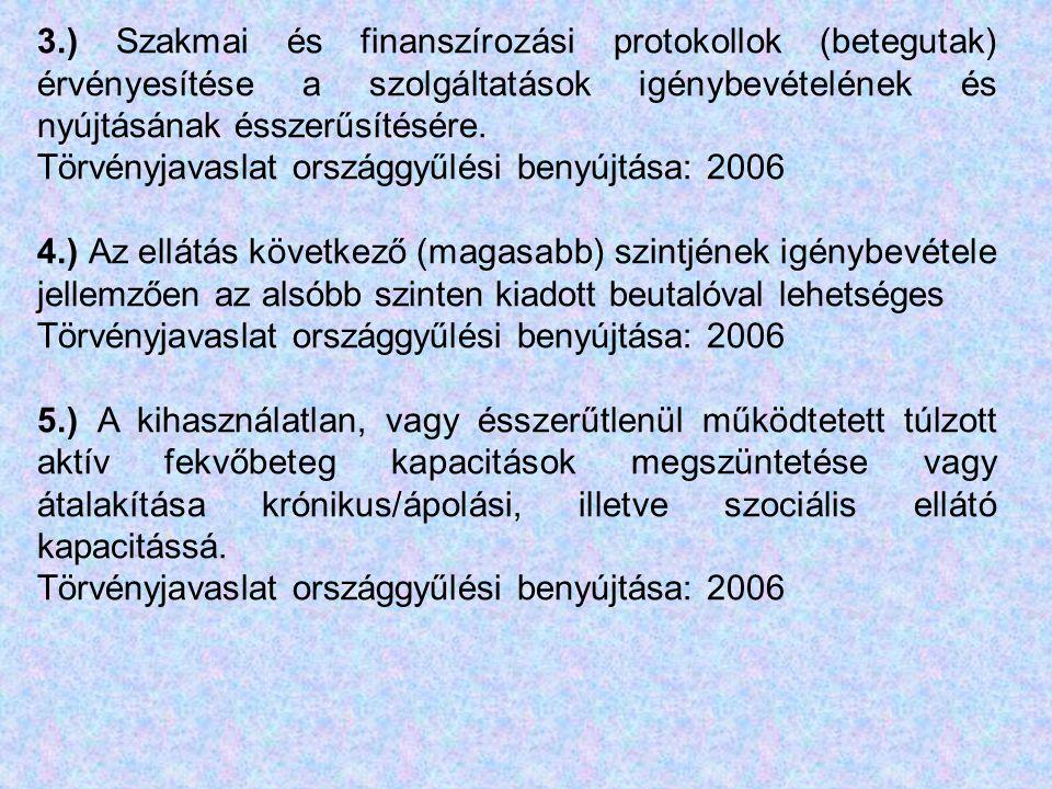 3.) Szakmai és finanszírozási protokollok (betegutak) érvényesítése a szolgáltatások igénybevételének és nyújtásának ésszerűsítésére.