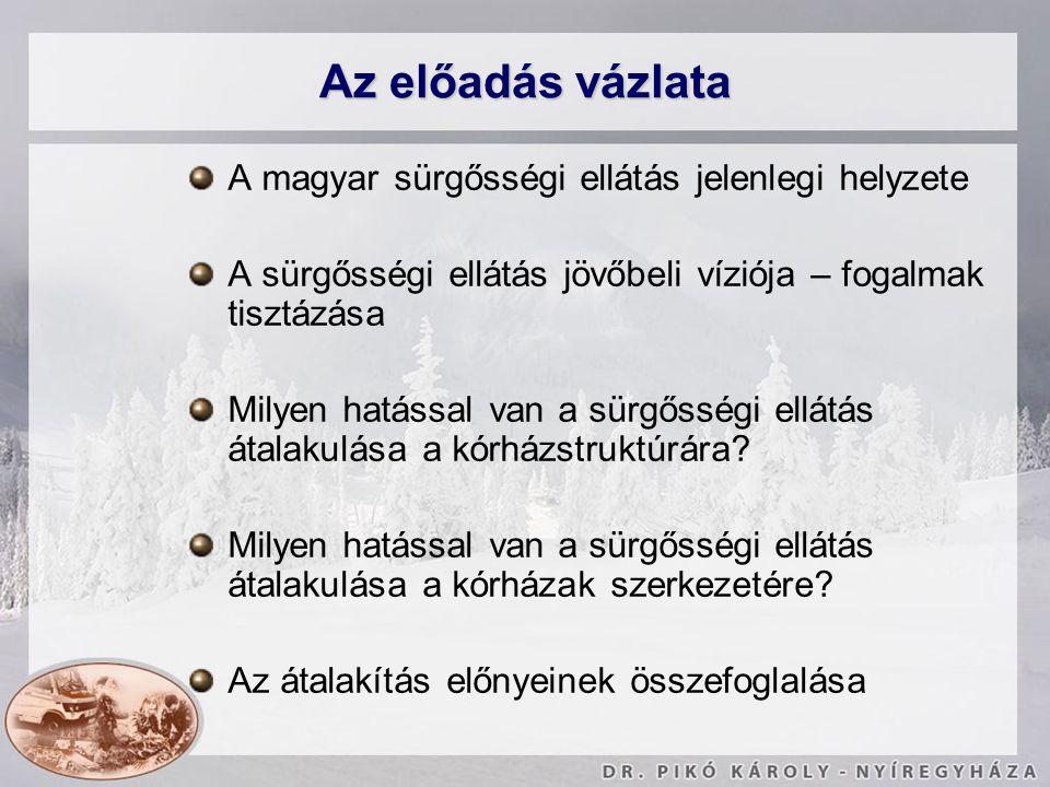 Az előadás vázlata A magyar sürgősségi ellátás jelenlegi helyzete A sürgősségi ellátás jövőbeli víziója – fogalmak tisztázása Milyen hatással van a sü