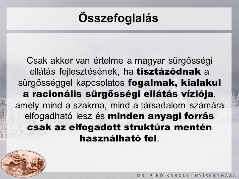 Összefoglalás tisztázódnak Csak akkor van értelme a magyar sürgősségi ellátás fejlesztésének, ha tisztázódnak a sürgősséggel kapcsolatos fogalmak, kia