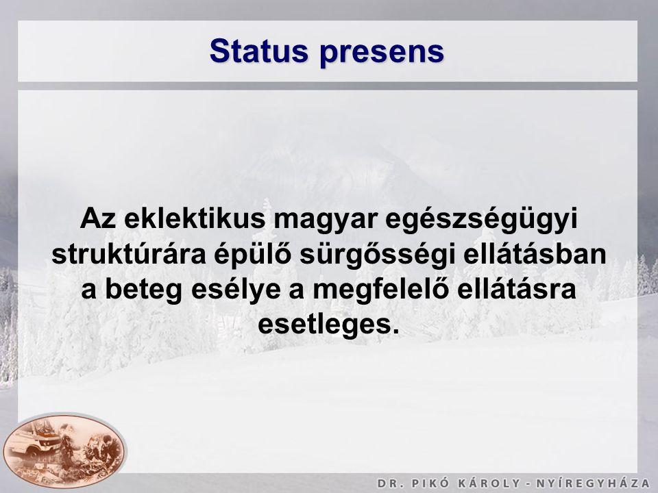 Status presens Az eklektikus magyar egészségügyi struktúrára épülő sürgősségi ellátásban a beteg esélye a megfelelő ellátásra esetleges.