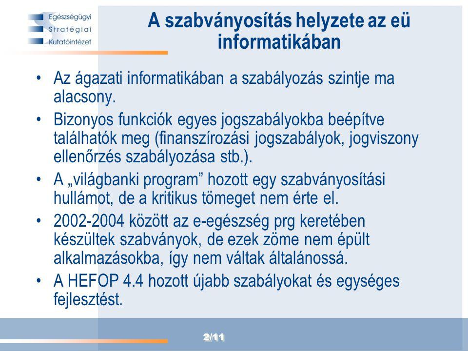 2/11 A szabványosítás helyzete az eü informatikában Az ágazati informatikában a szabályozás szintje ma alacsony. Bizonyos funkciók egyes jogszabályokb