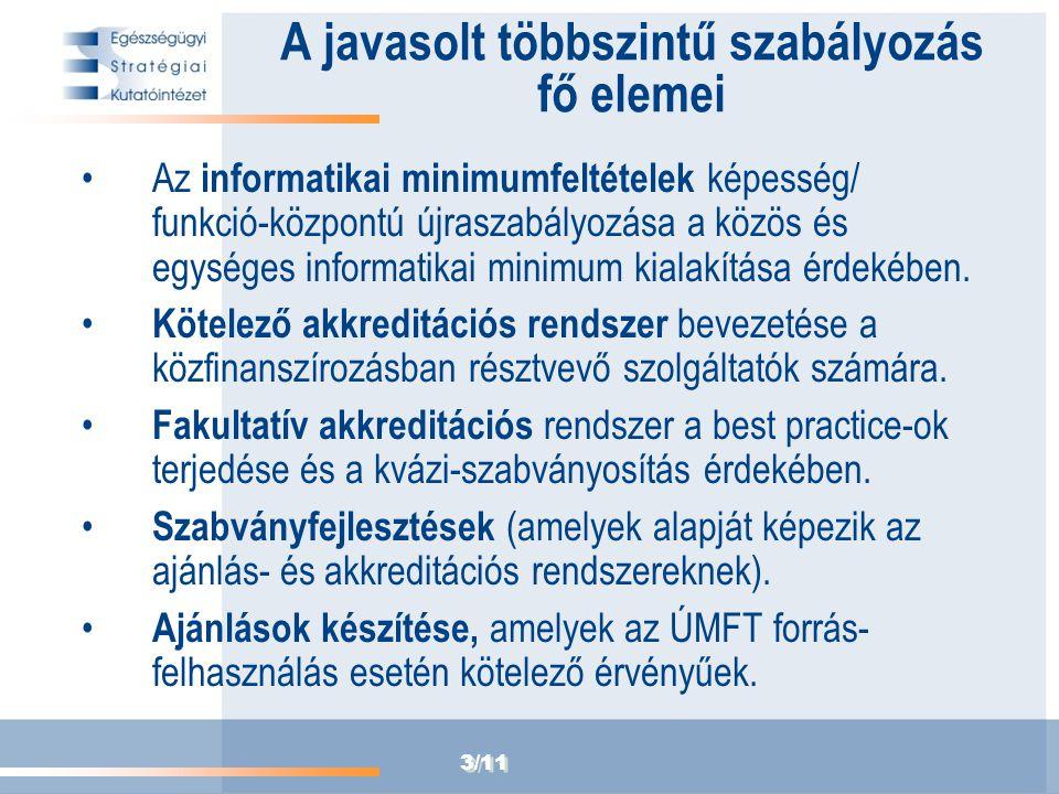 3/11 A javasolt többszintű szabályozás fő elemei Az informatikai minimumfeltételek képesség/ funkció-központú újraszabályozása a közös és egységes inf