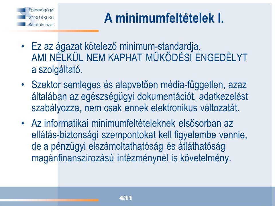 4/11 A minimumfeltételek I. Ez az ágazat kötelező minimum-standardja, AMI NÉLKÜL NEM KAPHAT MŰKÖDÉSI ENGEDÉLYT a szolgáltató. Szektor semleges és alap