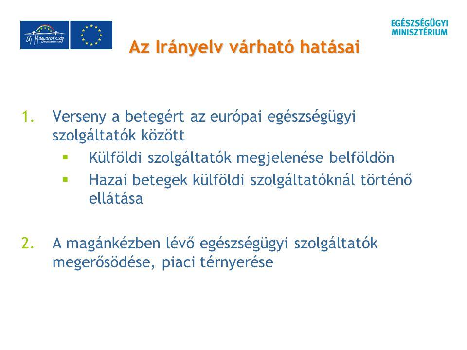 Az Irányelv várható hatásai 1.Verseny a betegért az európai egészségügyi szolgáltatók között  Külföldi szolgáltatók megjelenése belföldön  Hazai betegek külföldi szolgáltatóknál történő ellátása 2.A magánkézben lévő egészségügyi szolgáltatók megerősödése, piaci térnyerése