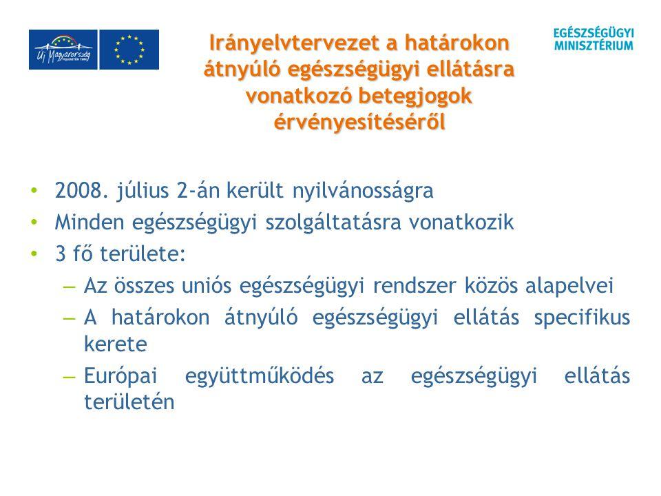 Irányelvtervezet a határokon átnyúló egészségügyi ellátásra vonatkozó betegjogok érvényesítéséről 2008.