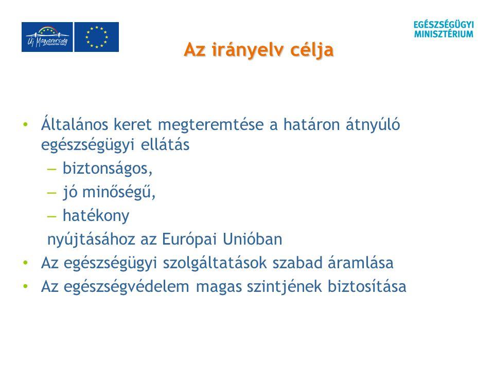 Az irányelv célja Általános keret megteremtése a határon átnyúló egészségügyi ellátás – biztonságos, – jó minőségű, – hatékony nyújtásához az Európai Unióban Az egészségügyi szolgáltatások szabad áramlása Az egészségvédelem magas szintjének biztosítása