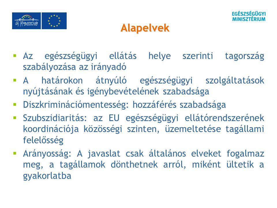 Alapelvek  Az egészségügyi ellátás helye szerinti tagország szabályozása az irányadó  A határokon átnyúló egészségügyi szolgáltatások nyújtásának és igénybevételének szabadsága  Diszkriminációmentesség: hozzáférés szabadsága  Szubszidiaritás: az EU egészségügyi ellátórendszerének koordinációja közösségi szinten, üzemeltetése tagállami felelősség  Arányosság: A javaslat csak általános elveket fogalmaz meg, a tagállamok dönthetnek arról, miként ültetik a gyakorlatba