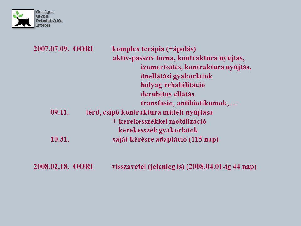 2007.07.09. OORI komplex terápia (+ápolás) aktív-passzív torna, kontraktura nyújtás, izomerősítés, kontraktura nyújtás, önellátási gyakorlatok hólyag