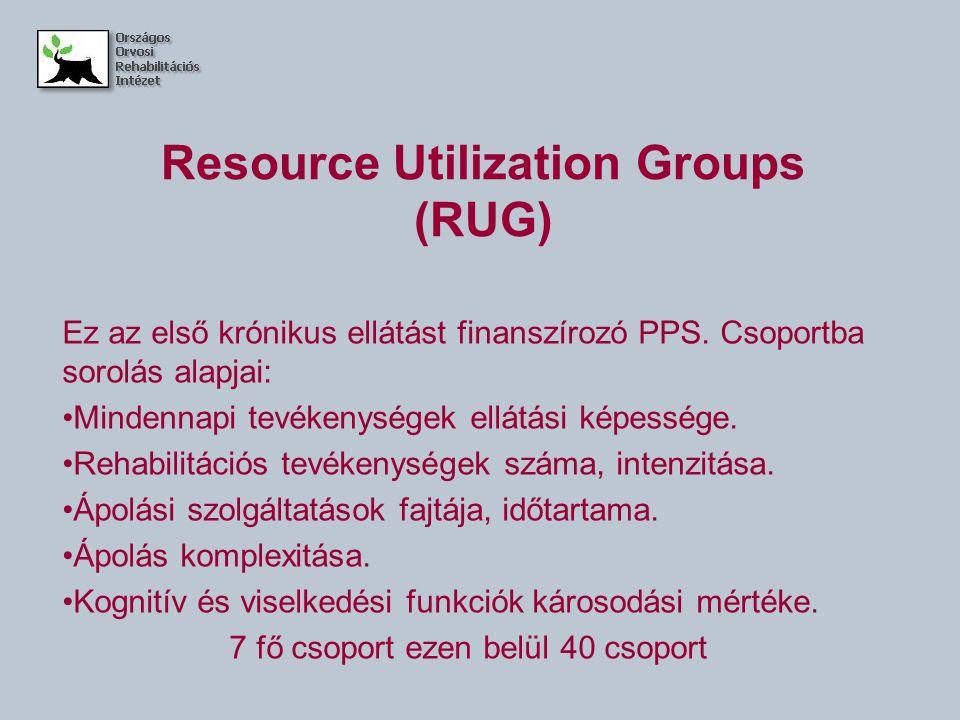 Resource Utilization Groups (RUG) Ez az első krónikus ellátást finanszírozó PPS. Csoportba sorolás alapjai: Mindennapi tevékenységek ellátási képesség
