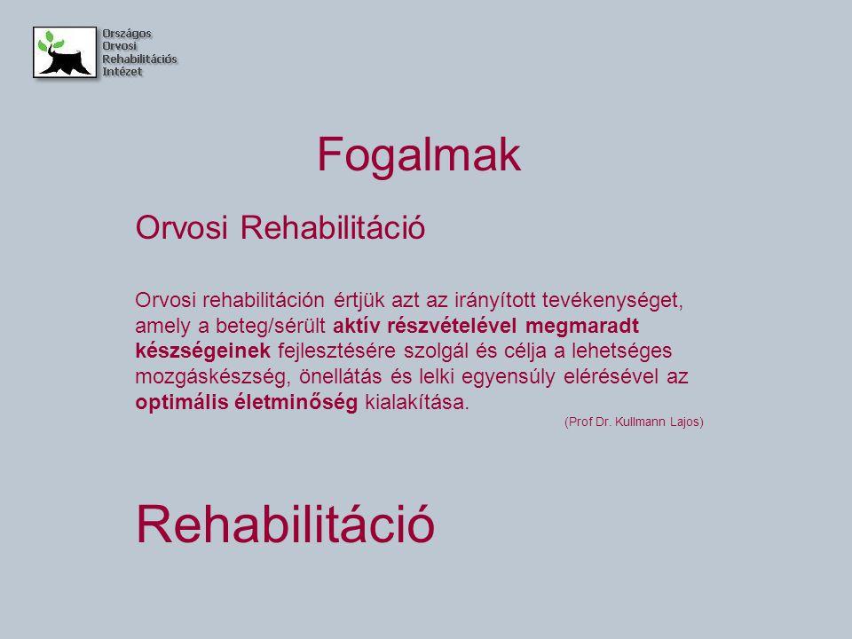 Fogalmak Orvosi Rehabilitáció Orvosi rehabilitáción értjük azt az irányított tevékenységet, amely a beteg/sérült aktív részvételével megmaradt készség