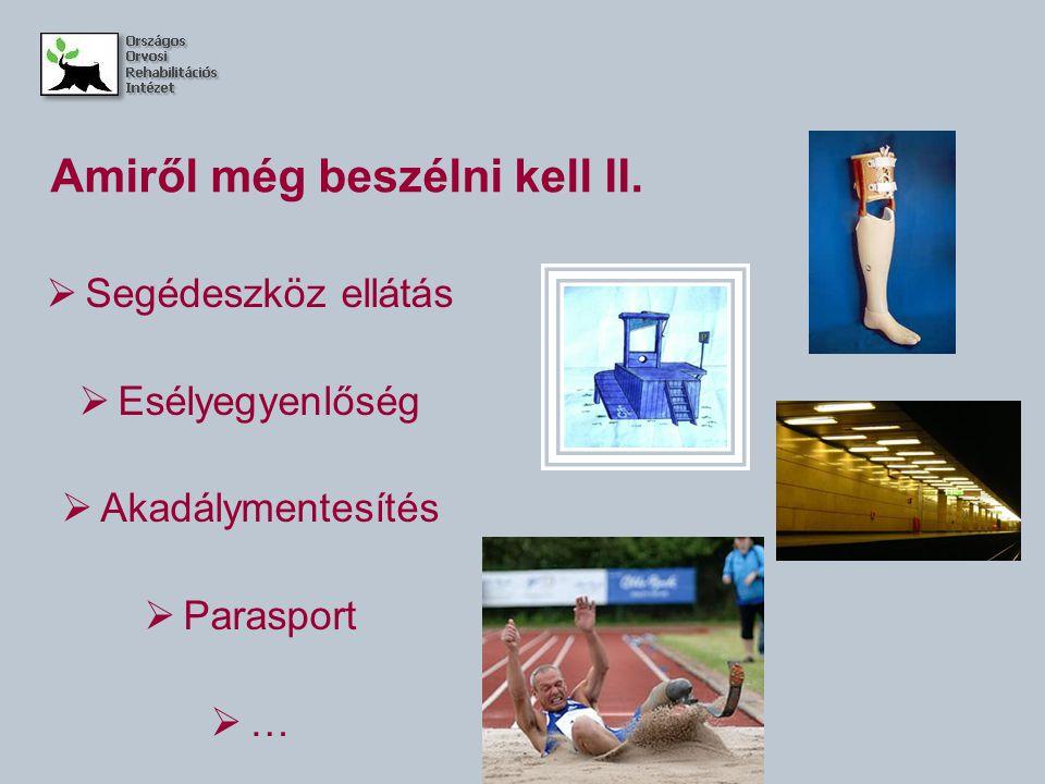Amiről még beszélni kell II.  Segédeszköz ellátás  Esélyegyenlőség  Akadálymentesítés  Parasport  …