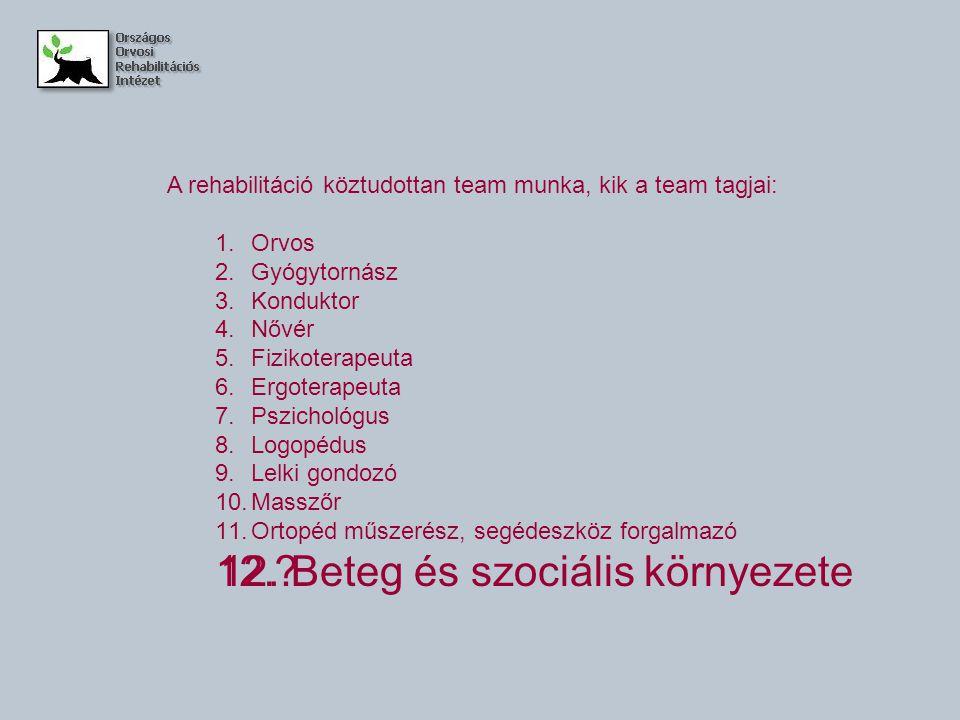 A rehabilitáció köztudottan team munka, kik a team tagjai: 1.Orvos 2.Gyógytornász 3.Konduktor 4.Nővér 5.Fizikoterapeuta 6.Ergoterapeuta 7.Pszichológus