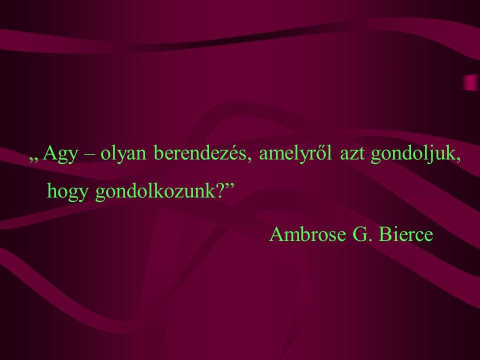 """"""" Agy – olyan berendezés, amelyről azt gondoljuk, hogy gondolkozunk Ambrose G. Bierce"""