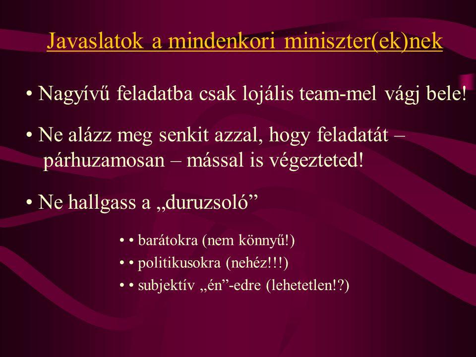 Javaslatok a mindenkori miniszter(ek)nek Nagyívű feladatba csak lojális team-mel vágj bele.