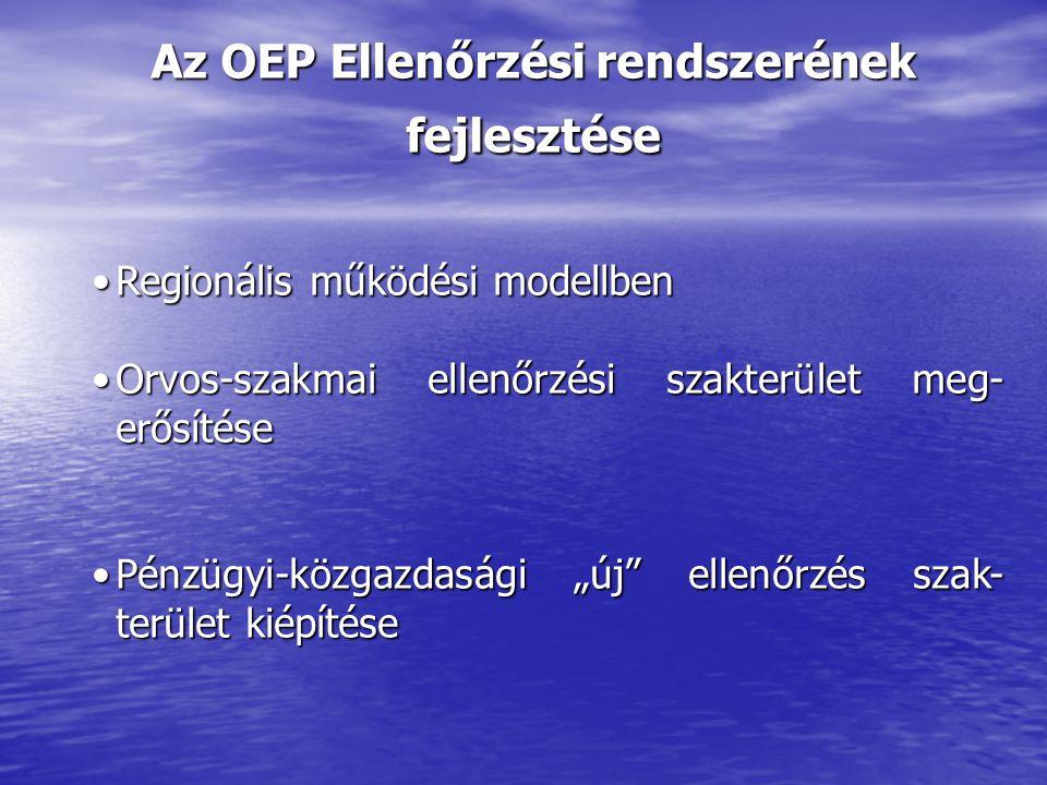 """Az OEP Ellenőrzési rendszerének fejlesztése Regionális működési modellbenRegionális működési modellben Orvos-szakmai ellenőrzési szakterület meg- erősítéseOrvos-szakmai ellenőrzési szakterület meg- erősítése Pénzügyi-közgazdasági """"új ellenőrzés szak- terület kiépítésePénzügyi-közgazdasági """"új ellenőrzés szak- terület kiépítése"""