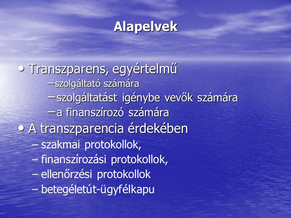 Alapelvek Transzparens, egyértelmű Transzparens, egyértelmű − szolgáltató számára − szolgáltatást igénybe vevők számára − a finanszírozó számára A transzparencia érdekében A transzparencia érdekében – –szakmai protokollok, – –finanszírozási protokollok, – –ellenőrzési protokollok – –betegéletút-ügyfélkapu