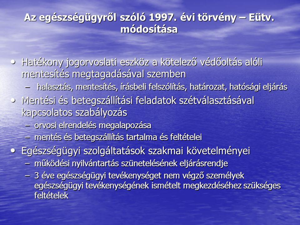 Az egészségügyről szóló 1997. évi törvény – Eütv.