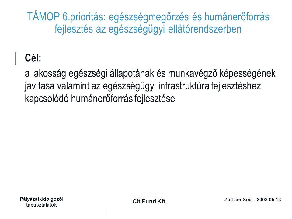 Zell am See – 2008.05.13. Pályázatkidolgozói tapasztalatok CitiFund Kft. TÁMOP 6.prioritás: egészségmegőrzés és humánerőforrás fejlesztés az egészségü