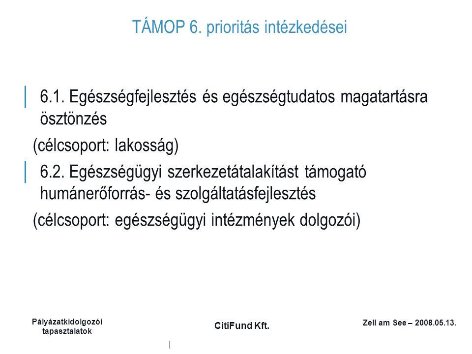 Zell am See – 2008.05.13. Pályázatkidolgozói tapasztalatok CitiFund Kft. TÁMOP 6. prioritás intézkedései │ 6.1. Egészségfejlesztés és egészségtudatos