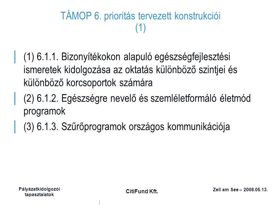 Zell am See – 2008.05.13. Pályázatkidolgozói tapasztalatok CitiFund Kft. TÁMOP 6. prioritás tervezett konstrukciói (1) │ (1) 6.1.1. Bizonyítékokon ala
