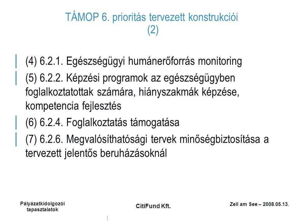 Zell am See – 2008.05.13. Pályázatkidolgozói tapasztalatok CitiFund Kft. TÁMOP 6. prioritás tervezett konstrukciói (2) │ (4) 6.2.1. Egészségügyi humán