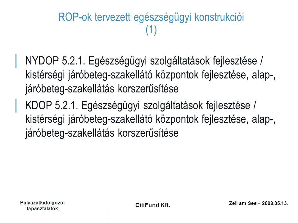 Zell am See – 2008.05.13. Pályázatkidolgozói tapasztalatok CitiFund Kft. ROP-ok tervezett egészségügyi konstrukciói (1) │ NYDOP 5.2.1. Egészségügyi sz