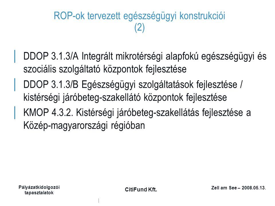 Zell am See – 2008.05.13. Pályázatkidolgozói tapasztalatok CitiFund Kft. ROP-ok tervezett egészségügyi konstrukciói (2) │ DDOP 3.1.3/A Integrált mikro
