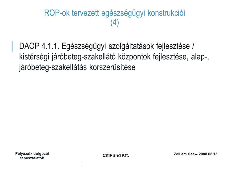 Zell am See – 2008.05.13. Pályázatkidolgozói tapasztalatok CitiFund Kft. ROP-ok tervezett egészségügyi konstrukciói (4) │ DAOP 4.1.1. Egészségügyi szo