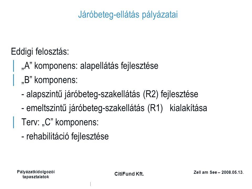 """Zell am See – 2008.05.13. Pályázatkidolgozói tapasztalatok CitiFund Kft. Járóbeteg-ellátás pályázatai Eddigi felosztás: │ """"A"""" komponens: alapellátás f"""