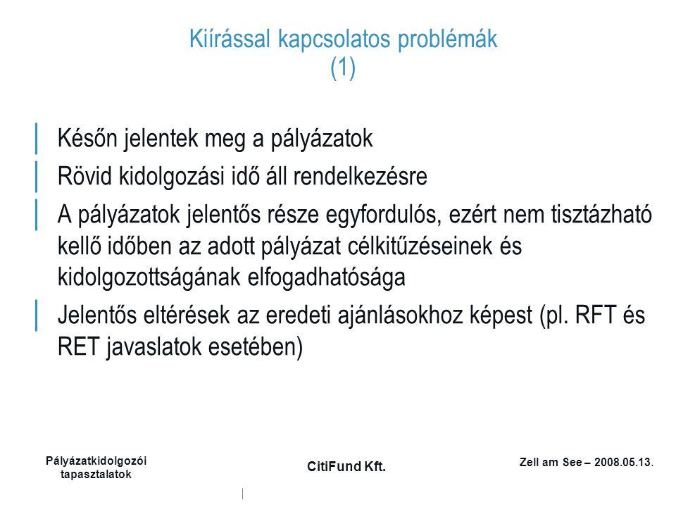 Zell am See – 2008.05.13. Pályázatkidolgozói tapasztalatok CitiFund Kft. Kiírással kapcsolatos problémák (1) │ Későn jelentek meg a pályázatok │ Rövid