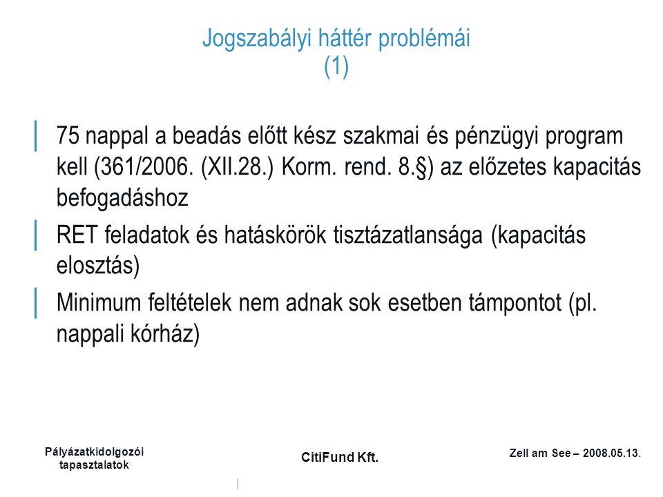 Zell am See – 2008.05.13. Pályázatkidolgozói tapasztalatok CitiFund Kft. Jogszabályi háttér problémái (1) │ 75 nappal a beadás előtt kész szakmai és p