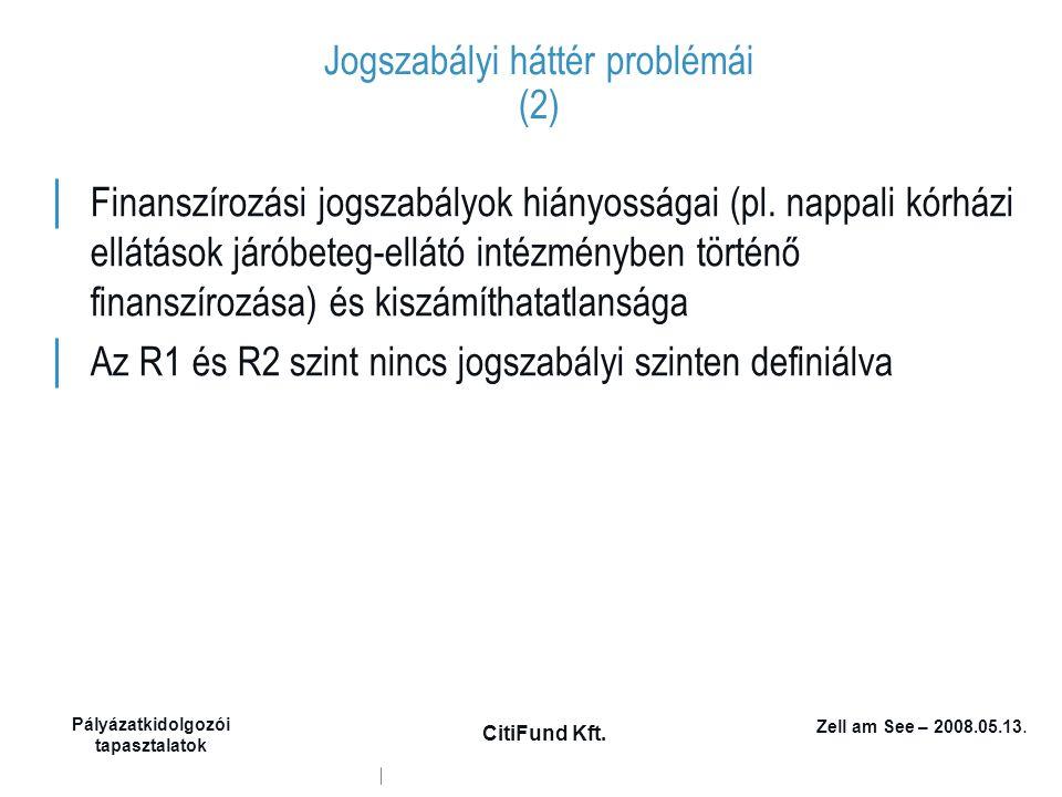 Zell am See – 2008.05.13. Pályázatkidolgozói tapasztalatok CitiFund Kft. Jogszabályi háttér problémái (2) │ Finanszírozási jogszabályok hiányosságai (
