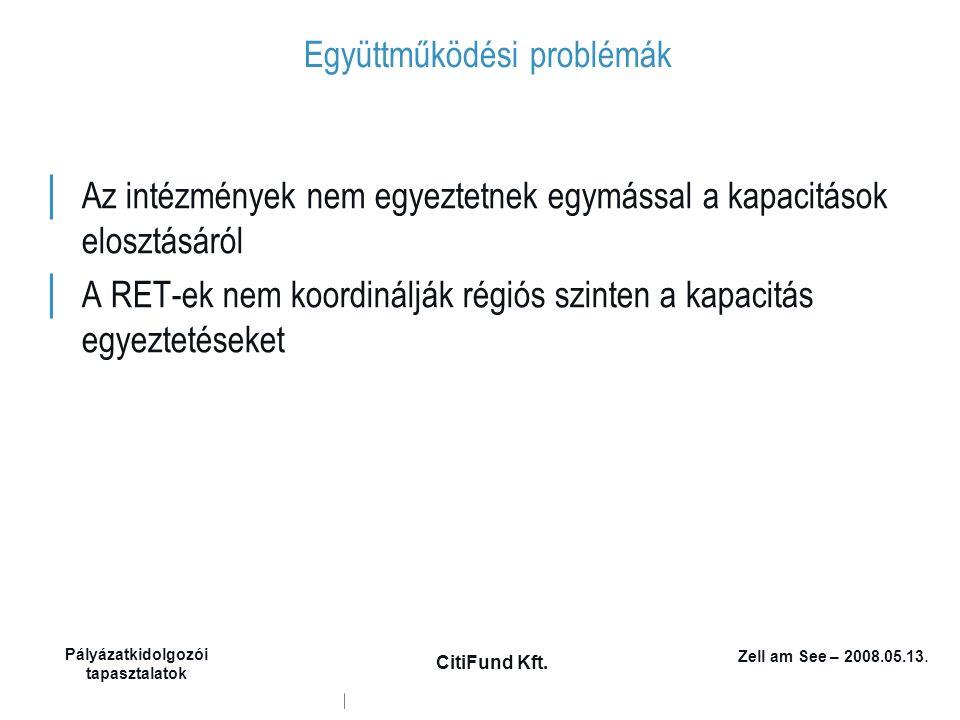 Zell am See – 2008.05.13. Pályázatkidolgozói tapasztalatok CitiFund Kft. Együttműködési problémák │ Az intézmények nem egyeztetnek egymással a kapacit