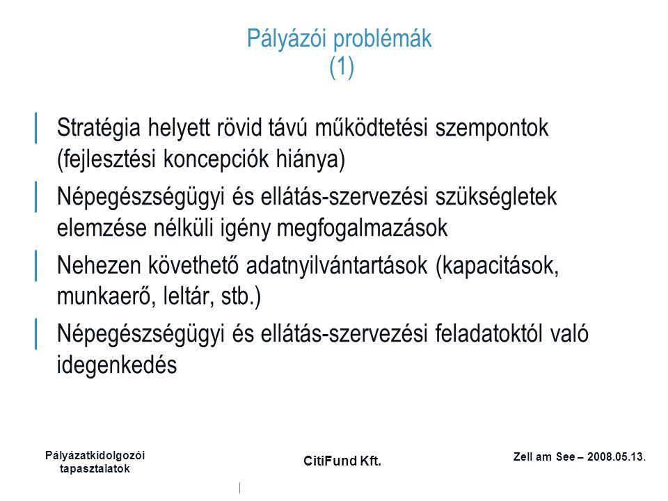 Zell am See – 2008.05.13. Pályázatkidolgozói tapasztalatok CitiFund Kft. Pályázói problémák (1) │ Stratégia helyett rövid távú működtetési szempontok