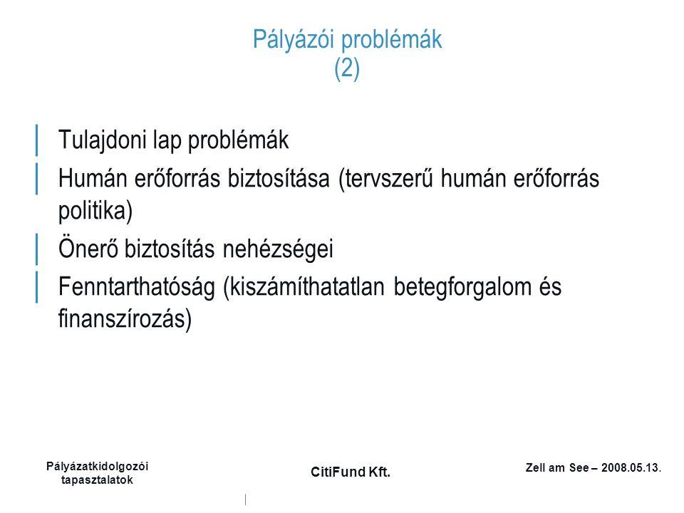 Zell am See – 2008.05.13. Pályázatkidolgozói tapasztalatok CitiFund Kft. Pályázói problémák (2) │ Tulajdoni lap problémák │ Humán erőforrás biztosítás