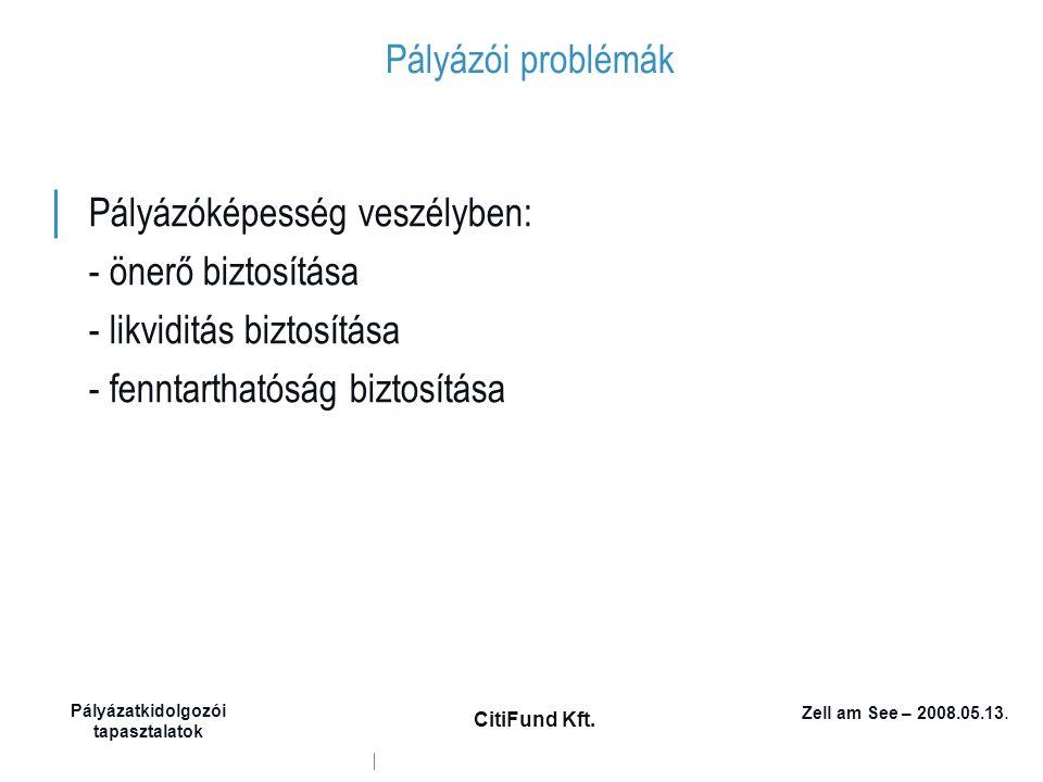 Zell am See – 2008.05.13. Pályázatkidolgozói tapasztalatok CitiFund Kft. Pályázói problémák │ Pályázóképesség veszélyben: - önerő biztosítása - likvid
