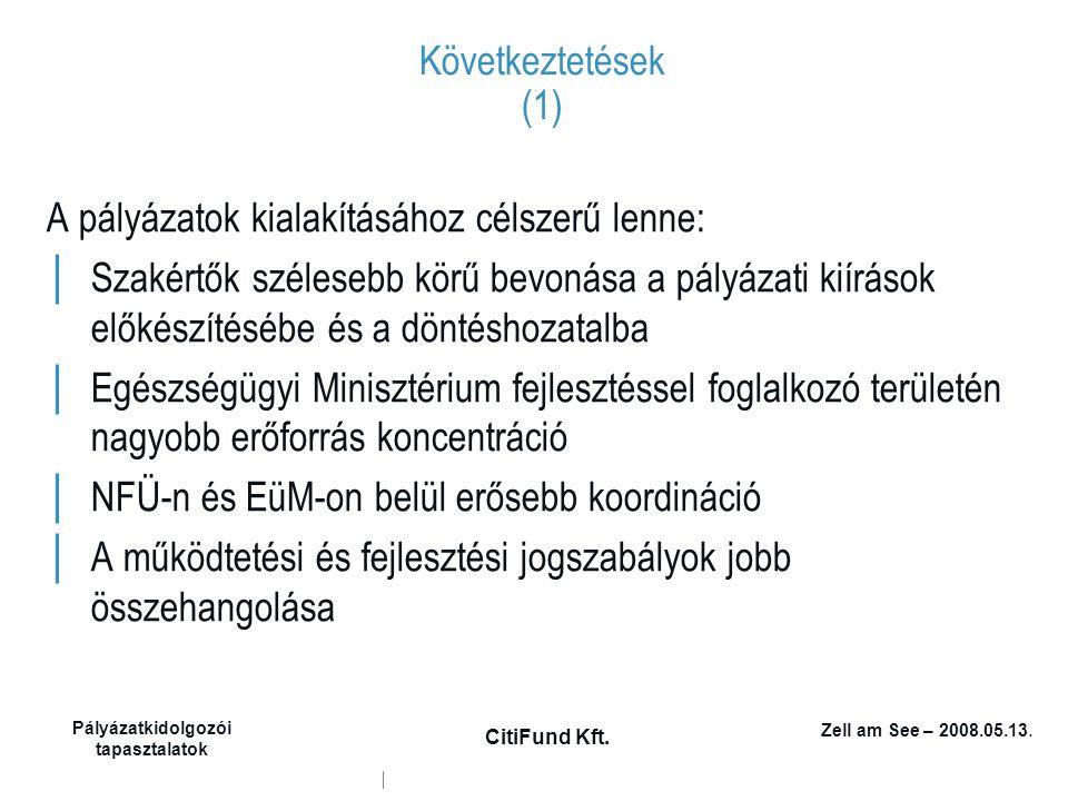 Zell am See – 2008.05.13. Pályázatkidolgozói tapasztalatok CitiFund Kft. Következtetések (1) A pályázatok kialakításához célszerű lenne: │ Szakértők s