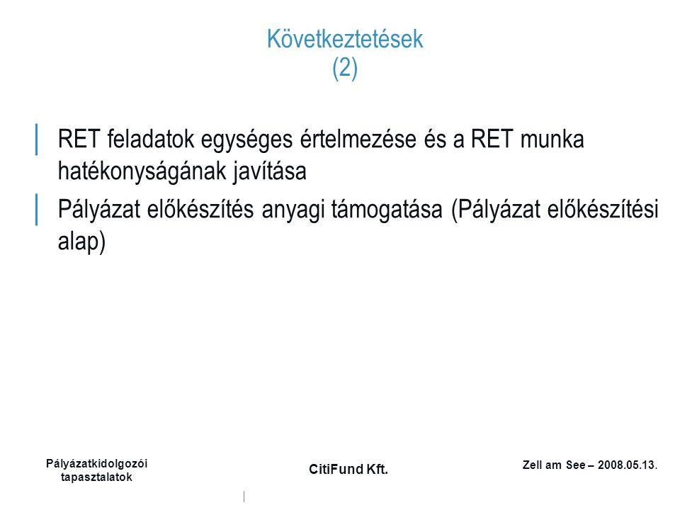 Zell am See – 2008.05.13. Pályázatkidolgozói tapasztalatok CitiFund Kft. Következtetések (2) │ RET feladatok egységes értelmezése és a RET munka haték