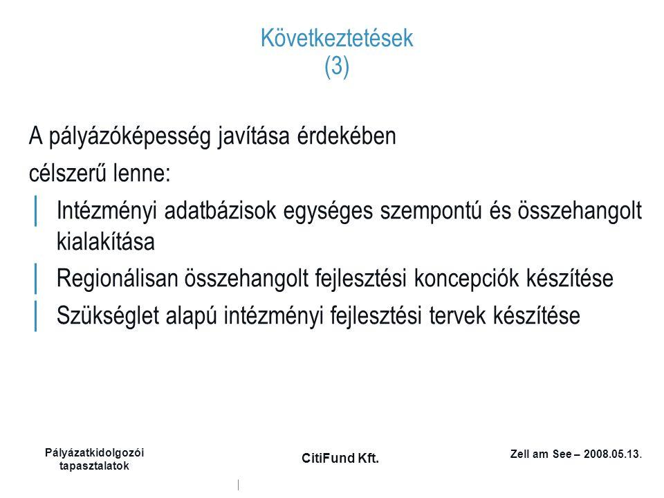 Zell am See – 2008.05.13. Pályázatkidolgozói tapasztalatok CitiFund Kft. Következtetések (3) A pályázóképesség javítása érdekében célszerű lenne: │ In