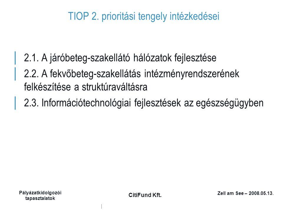 Zell am See – 2008.05.13. Pályázatkidolgozói tapasztalatok CitiFund Kft. TIOP 2. prioritási tengely intézkedései │ 2.1. A járóbeteg-szakellátó hálózat