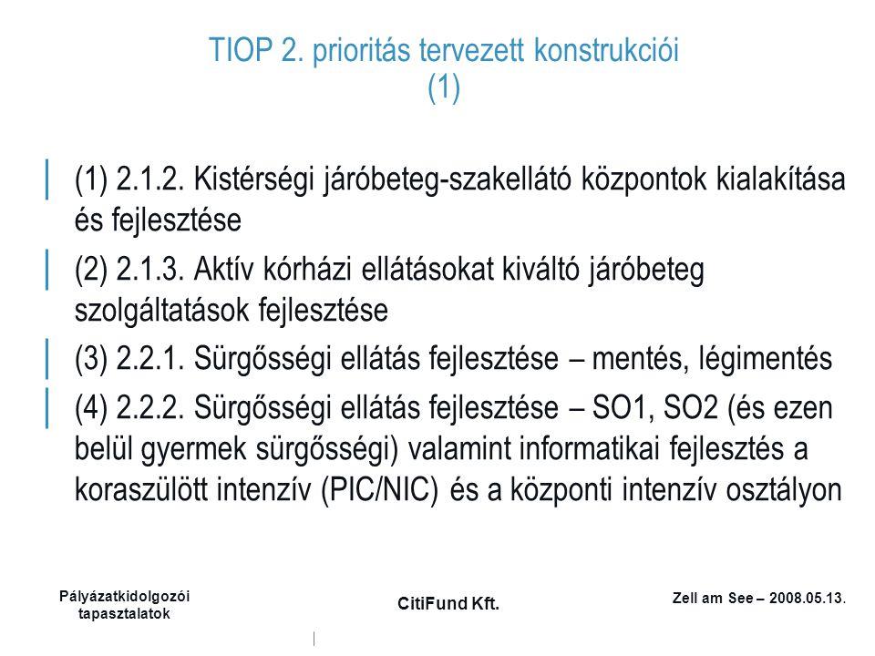 Zell am See – 2008.05.13. Pályázatkidolgozói tapasztalatok CitiFund Kft. TIOP 2. prioritás tervezett konstrukciói (1) │ (1) 2.1.2. Kistérségi járóbete