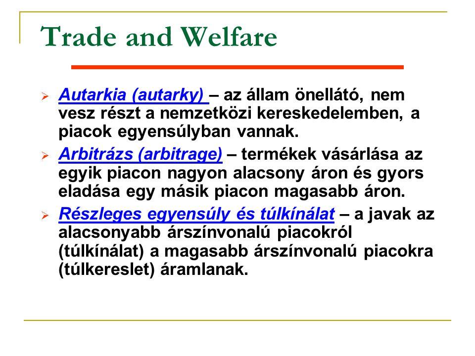 Trade and Welfare Ø Autarkia (autarky) – az állam önellátó, nem vesz részt a nemzetközi kereskedelemben, a piacok egyensúlyban vannak. Ø Arbitrázs (ar