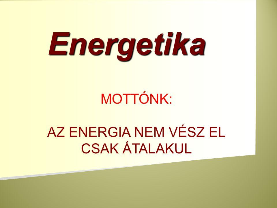 Állandóan energiát használunk fel a termodinamika első főtételének megfelelően fogalmazva energiahordozókat felhasználva folyamatosan különböző energiafajtákat alakítunk át egymásba az energia nem vész el, csak átalakul