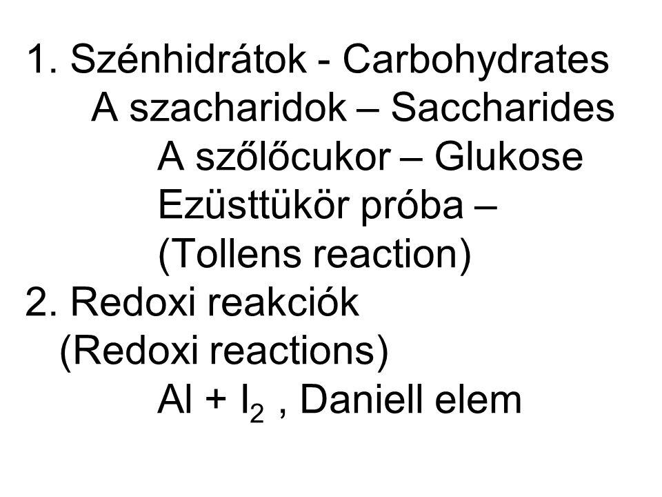 1. Szénhidrátok - Carbohydrates A szacharidok – Saccharides A szőlőcukor – Glukose Ezüsttükör próba – (Tollens reaction) 2. Redoxi reakciók (Redoxi re