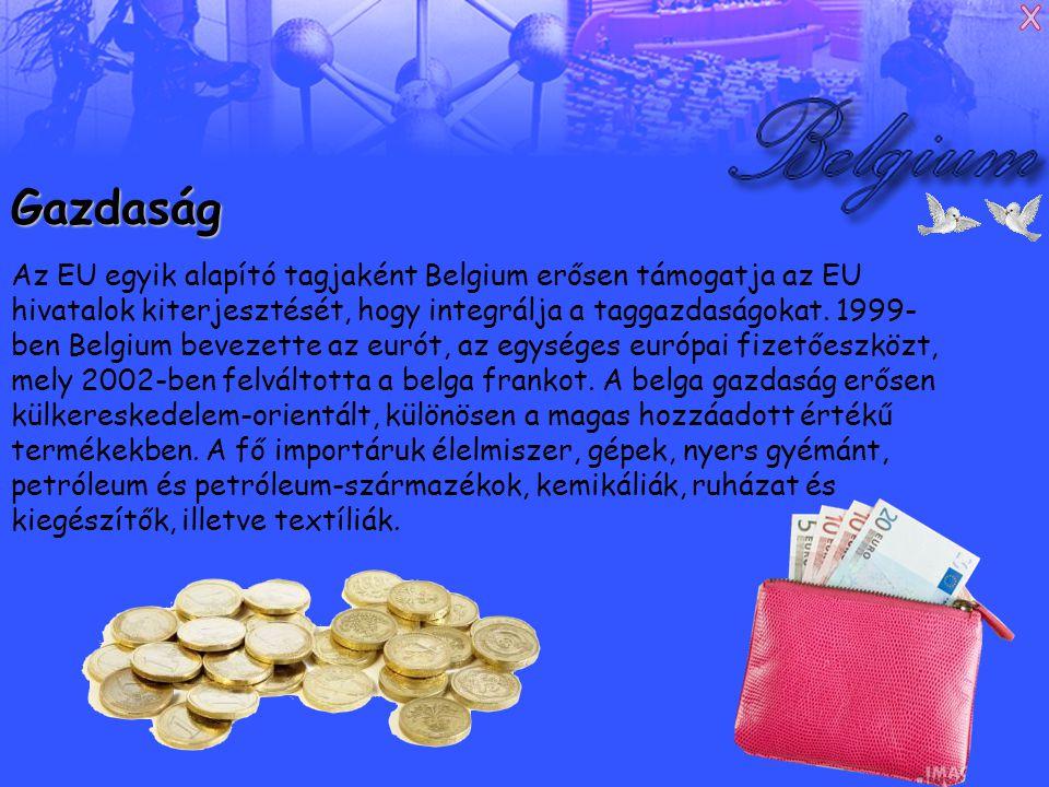 Gazdaság Az EU egyik alapító tagjaként Belgium erősen támogatja az EU hivatalok kiterjesztését, hogy integrálja a taggazdaságokat.