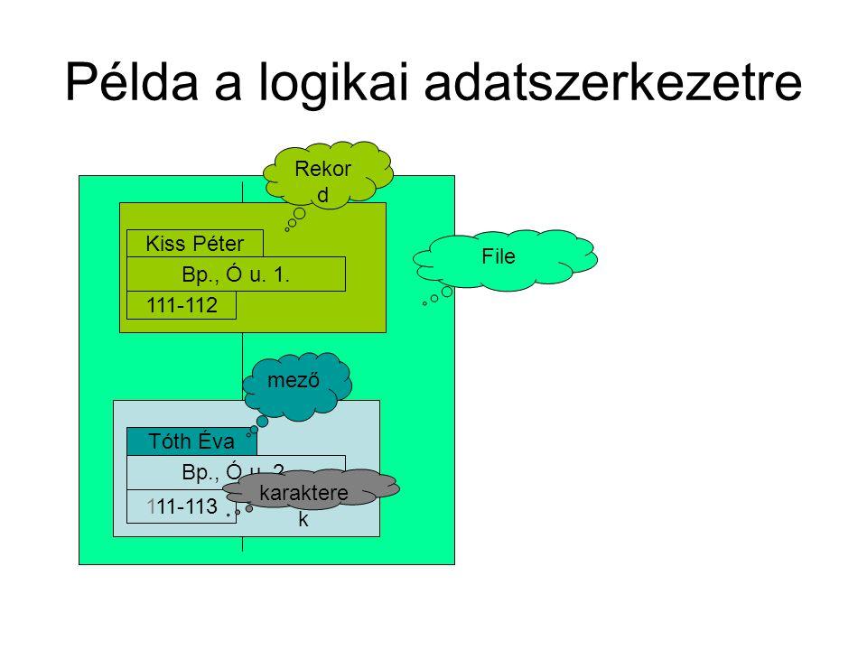 Példa a logikai adatszerkezetre Kiss Péter Bp., Ó u. 1. 111-112 Tóth Éva Bp., Ó u. 2. 111-113 File Rekor d mező karaktere k