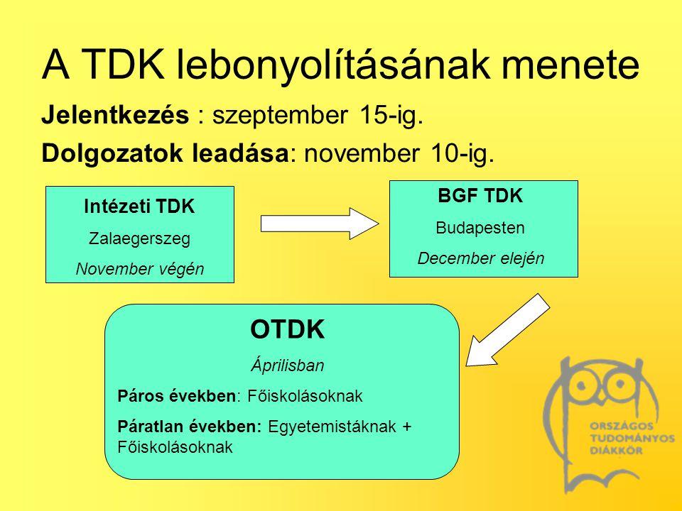 A TDK lebonyolításának menete Jelentkezés : szeptember 15-ig. Dolgozatok leadása: november 10-ig. Intézeti TDK Zalaegerszeg November végén BGF TDK Bud